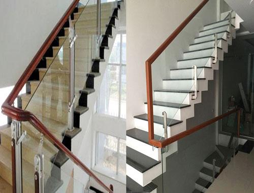 Cầu thang kính cường lực khung gỗ đẹp