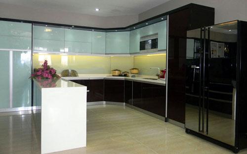 Tủ bếp nhôm kính- MS04