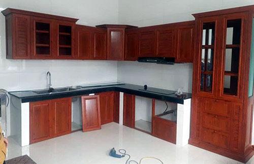 Tủ bếp nhôm kính- MS05
