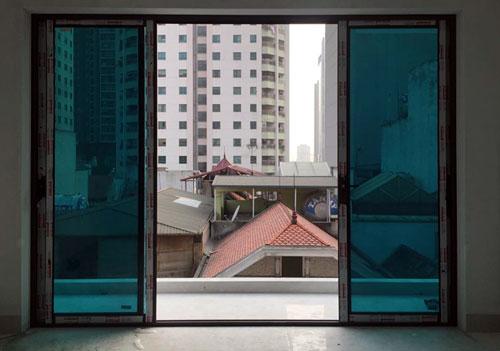 Cửa nhôm kính màu xanh đen- MS02