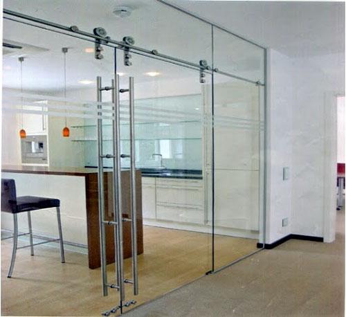 Mẫu cửa kính cường lực 2 cánh đẹp cho văn phòng