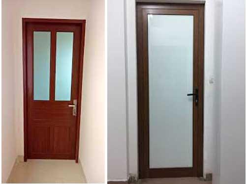 Cửa nhôm phòng tắm màu giả gỗ