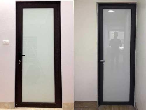 Mẫu cửa nhôm kính 1 cánh phòng ngủ sử dụng kính mờ