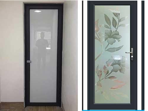 Mẫu cửa nhôm kính 1 cánh phòng ngủ màu đen