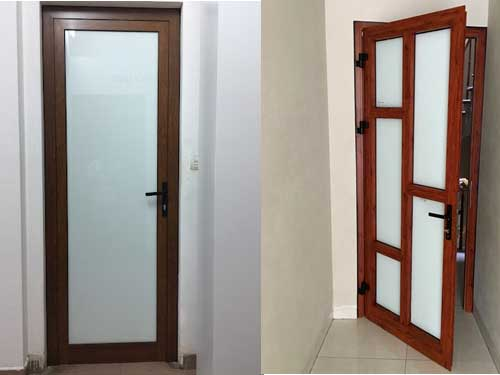 Mẫu cửa nhôm kính 1 cánh màu giả gỗ