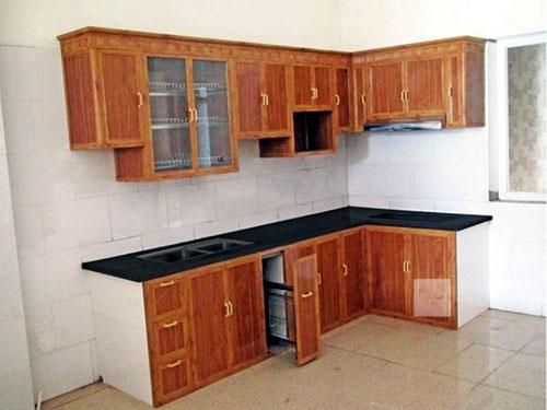 Làm tủ bếp nhôm giả gỗ đẹp tại quận Bình Thạnh