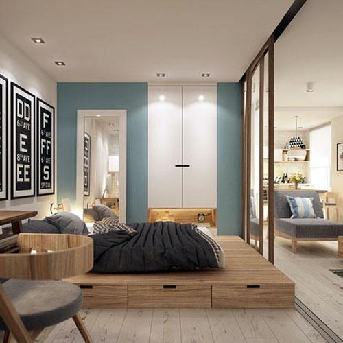 Mẫu vách ngăn nhôm kính phòng ngủ hiện đại