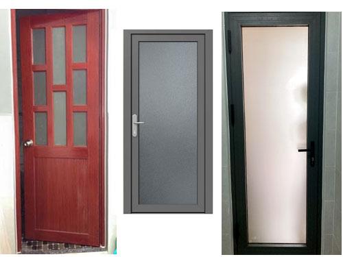 Mẫu cửa nhôm kính 1 cánh đẹp cho nhà vệ sinh, phòng tắm, phòng ngủ