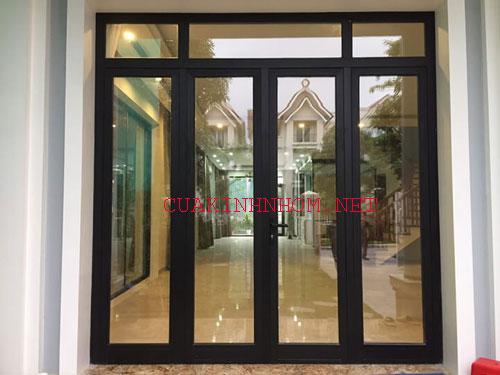 Cửa nhôm xingfa 4 cánh đẹp màu đen- MS01