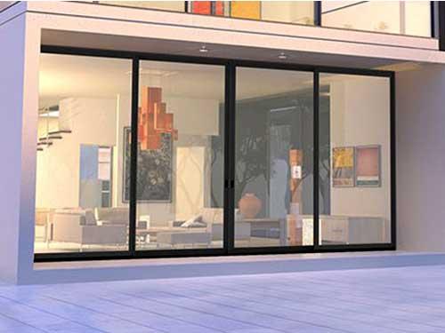 Cửa kính cường lực lùa 4 cánh đẹp cho shop thời trang