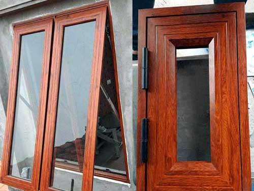 Cửa sổ nhôm hệ 55 màu giả gỗ