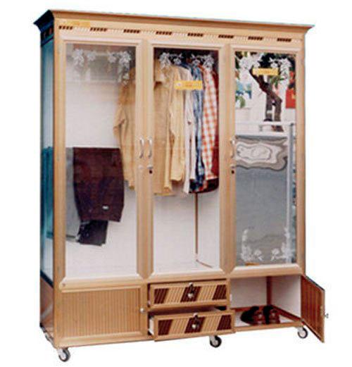 Tủ nhôm kính đựng quần áo- MS08