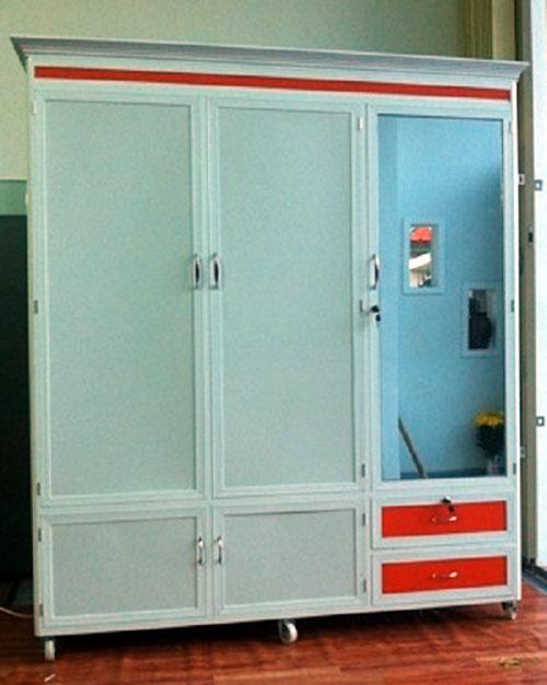 Tủ nhôm kính đựng quần áo- MS06
