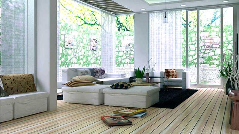 Mẫu vách ngăn nhôm kính phòng khách màu trắng sứ