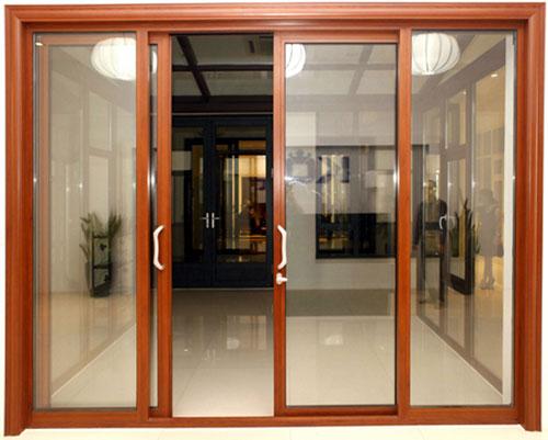 Mẫu cửa nhôm giả gỗ 4 cánh đẹp mở lùa- MS04