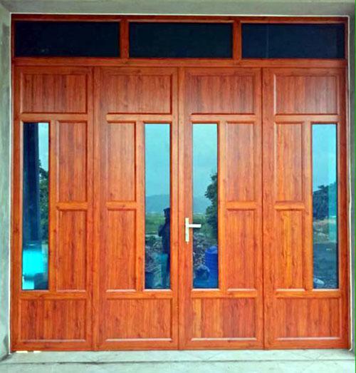 Cửa nhôm giả gỗ 4 cánh đẹp cho cửa đi chính