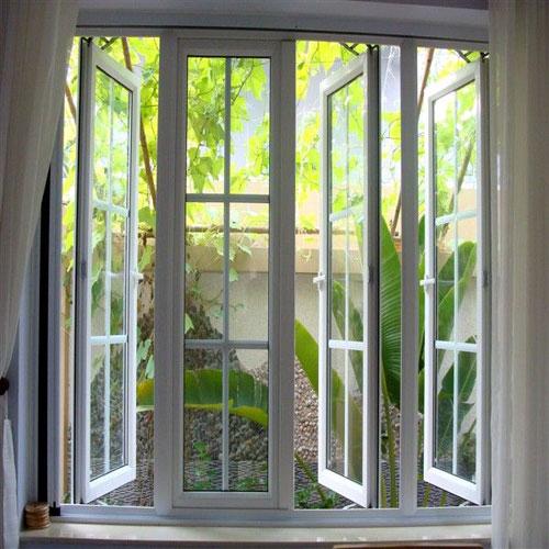 Mẫu cửa nhôm Xingfa 4 cánh đẹp màu trắng sứ- MS03