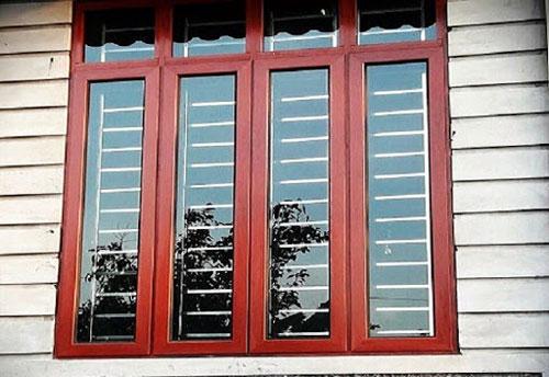 Cửa sổ nhôm giả gỗ 4 cánh đẹp- MS06