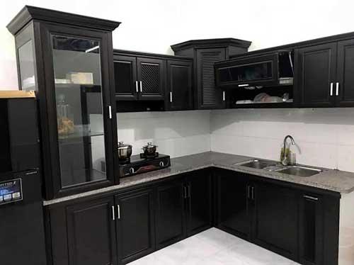 Tủ bếp nhôm kính- MS06