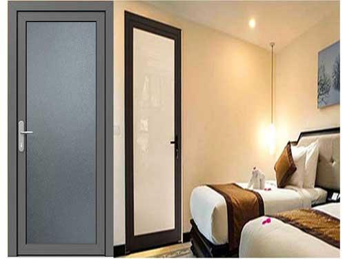 Mẫu cửa nhôm phòng ngủ 1 cánh màu đen