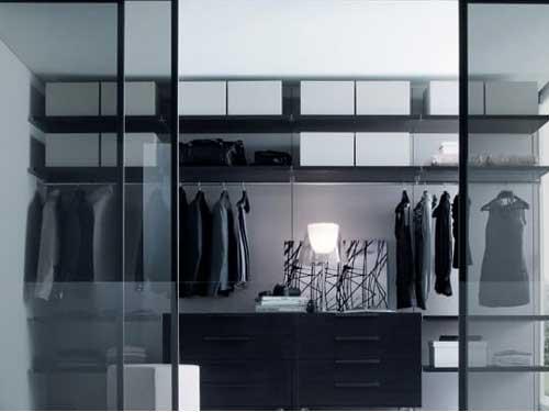 Mẫu tủ quần áo nhôm âm tường cửa lùa đẹp
