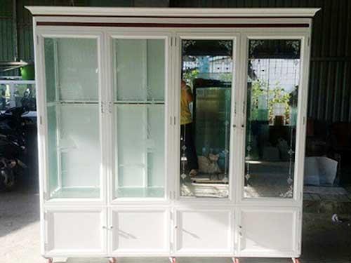Mẫu tủ quần áo nhôm kính màu trắng sứ đẹp