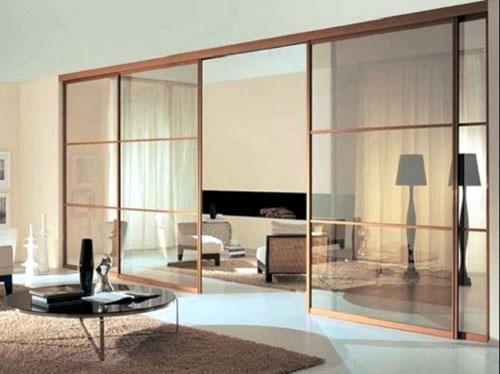 Vách ngăn bằng nhôm giả gỗ đẹp cho phòng khách