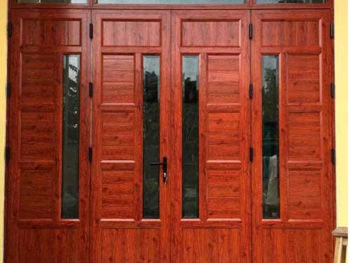 Mẫu cửa nhôm sơn tĩnh điện vân gỗ cho cửa đi chính