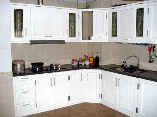 Mẫu cửa nhôm không kính cho tủ bếp
