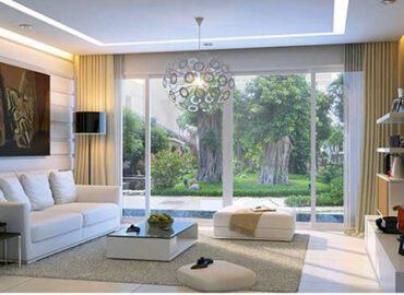 Mẫu cửa nhôm kính phòng khách đẹp màu trắng mở lùa