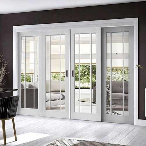 Mẫu cửa nhôm kính màu trắng sứ đẹp cho cửa đi chính