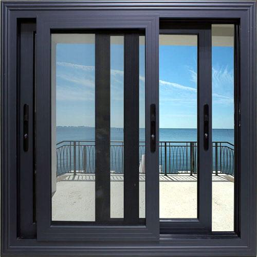 Mẫu cửa sổ nhôm trượt lùa 2 cánh đẹp màu đen