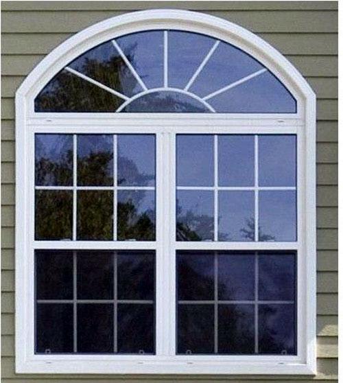 Cửa sổ nhôm uốn vòm 2 cánh màu trắng sứ