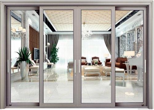 Mẫu cửa nhôm kính phòng khách 4 cánh đẹp
