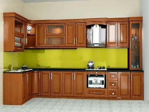 Làm tủ bếp nhôm sơn tĩnh điện giả gỗ đẹp 2021