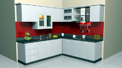 Thi công tủ bếp nhôm nhỏ màu trắng đẹp