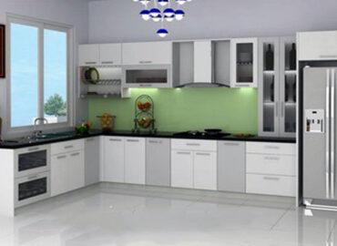 Làm tủ bếp nhôm kính màu trắng đẹp theo yêu cầu
