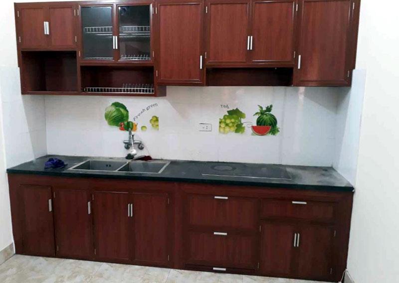 Lắp ráp tủ bếp nhôm kính nhỏ đẹp tại TP.HCM