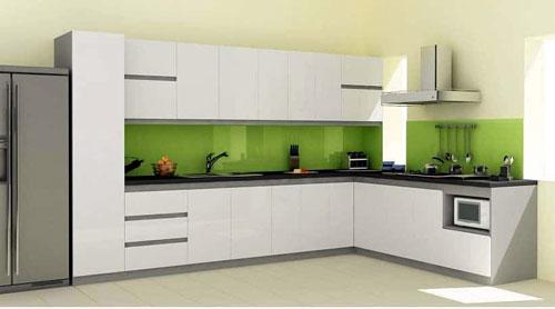 Mẫu tủ bếp nhôm Omega đẹp màu trắng
