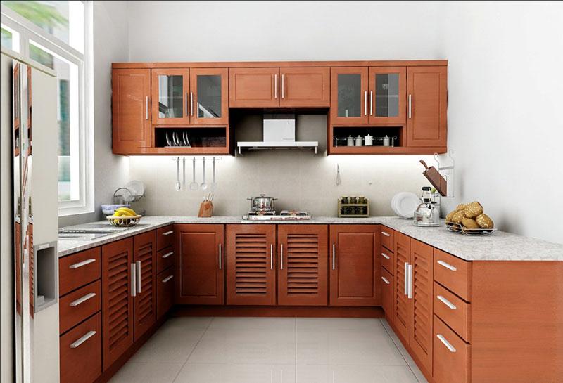 Làm tủ bếp nhôm Xingfa giả gỗ giá rẻ