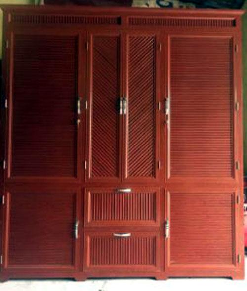Tủ quần áo nhôm 3 buồng đẹp màu giả gỗ