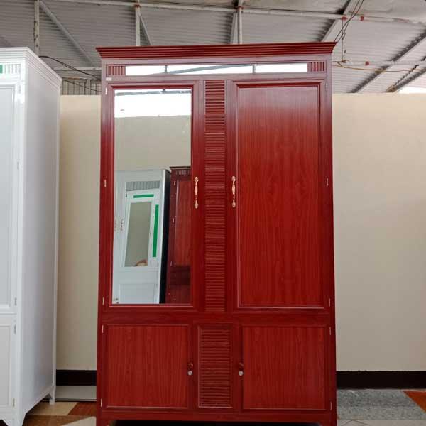 Tủ quần áo nhôm kính 2 buồng giả gỗ