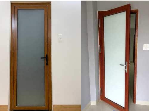 Mẫu cửa nhôm giả gỗ 1 cánh đẹp