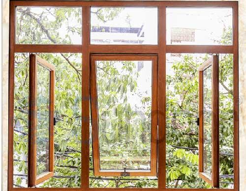 Cửa sổ nhôm Việt Pháp giả gỗ