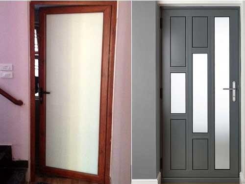 Mẫu cửa nhôm Xingfa 1 cánh màu giả gỗ và đen