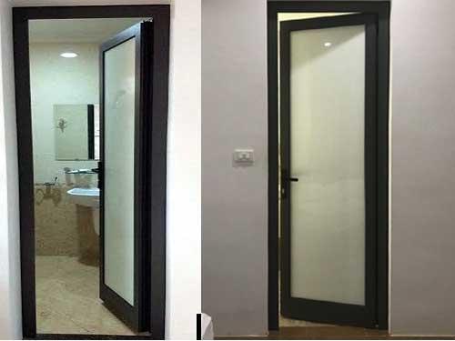 Mẫu cửa nhôm toilet Xingfa màu đen đẹp