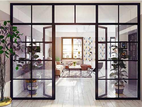 Vách ngăn phòng khách bằng nhôm kính đẹp 2021
