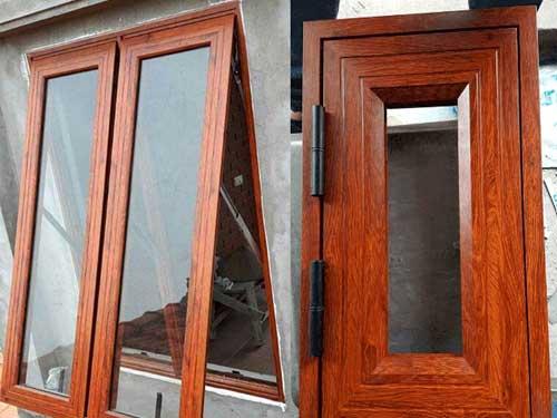 Mẫu cửa nhôm vân gỗ đẹp cho cửa sổ
