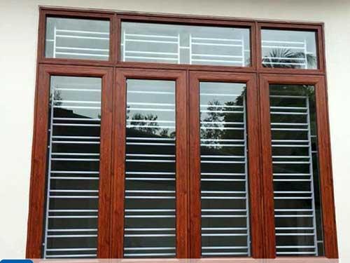 Cửa sổ nhôm Xingfa vân gỗ 4 cánh