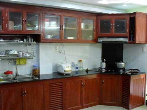 tủ bếp nhôm giả gỗ đẹp